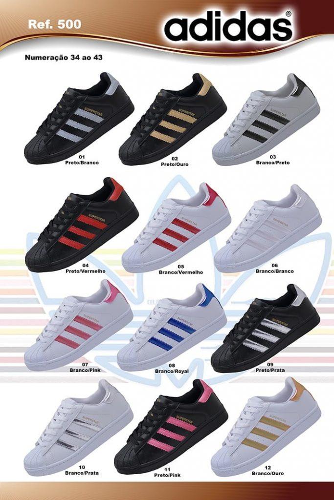 Grade Fechada 12 Pares Tênis Adidas Super Star – Ref FA01